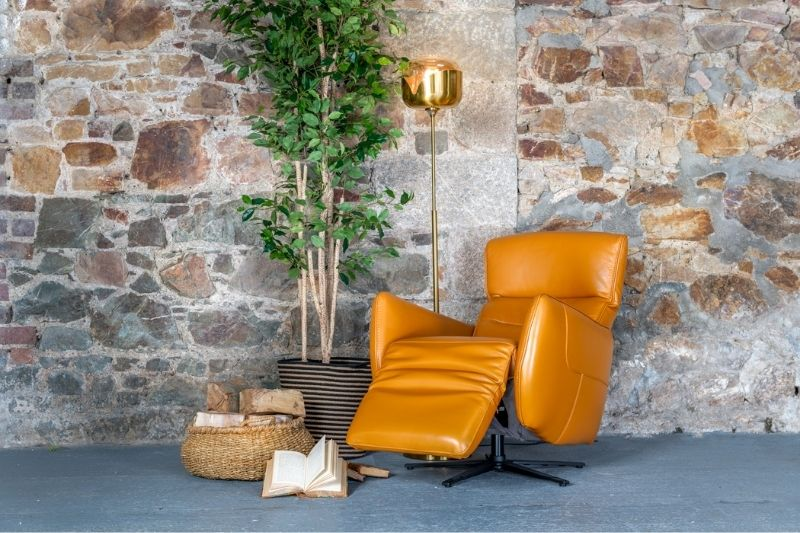 Orange Leather Recliner Chair